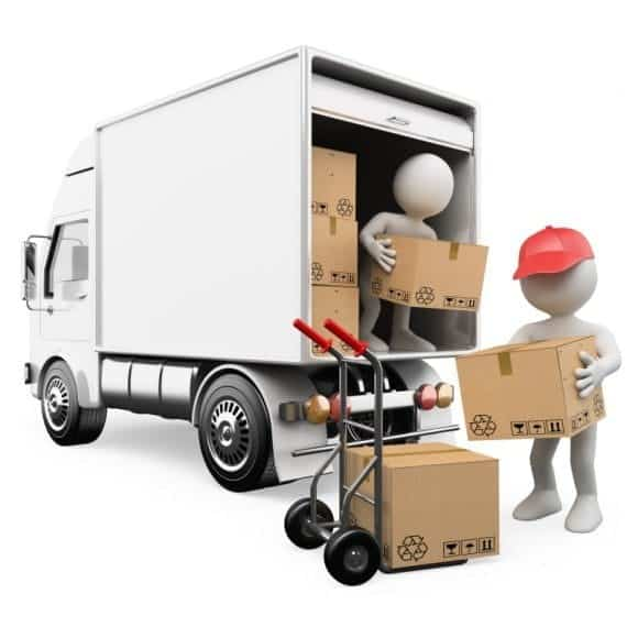 a team of moving helpers unloading boxes offers flat rate transport