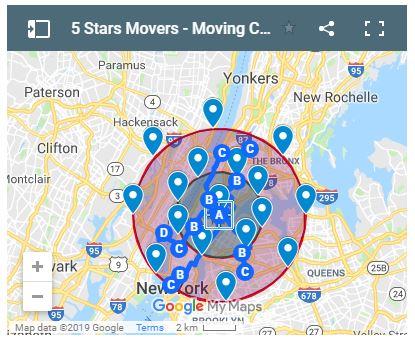 5 Stars Moving Company Map